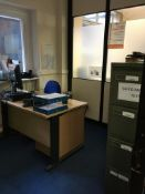 Contents of the office comprising, desk, office chair, 2 x filing cabinets, 2 x chairs, oil radiator