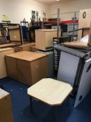 Contents of side office comprising, fitted workstation, 3 x office chairs, 4 x pedestals