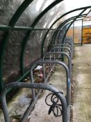 Tubular steel bicycle rack with Perspex weather shelter, 2 x 6 racks, 5000mm approx.