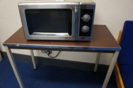 Samsung microwave and table