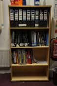 Miscellaneous lot comprising, post hole unit, post trolley, bookcase