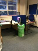 Contents of the office comprising, 6 x desks, 6 x office chairs, 2 x cupboards, filing cabinet, book