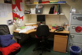 Contents of room comprising, 2 x curve front desk, cantilever frame table, computer desk, side unit,