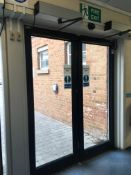 Double fully glazed automatic entry doors