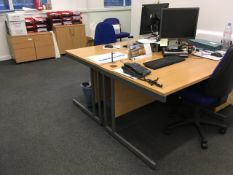 Contents of the office comprising, 2 x desks, office chair, tambour cupboard, meeting table + 2 x ch