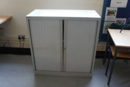 Bisley tambour front cupboard, contents NOT included