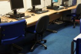 3 x wave front desks, 4 x gas lift chairs
