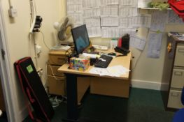 Contents of room comprising, cantilever desk, curve front desk, 3 x three drawer pedestals, three dr