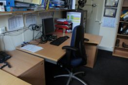 Miscellaneous lot comprising, 3 x curve front desks, 3 x three drawer pedestal, 3 x gas lift chairs,