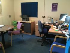 Contents of the office comprising, 3 x tables, tambour cupboard, desk, visitor's chair, office chair