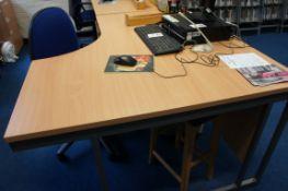 Cantilever frame desk, 2 x three drawer pedestals, gas lift chair