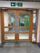 Double fully glazed automatic fire door