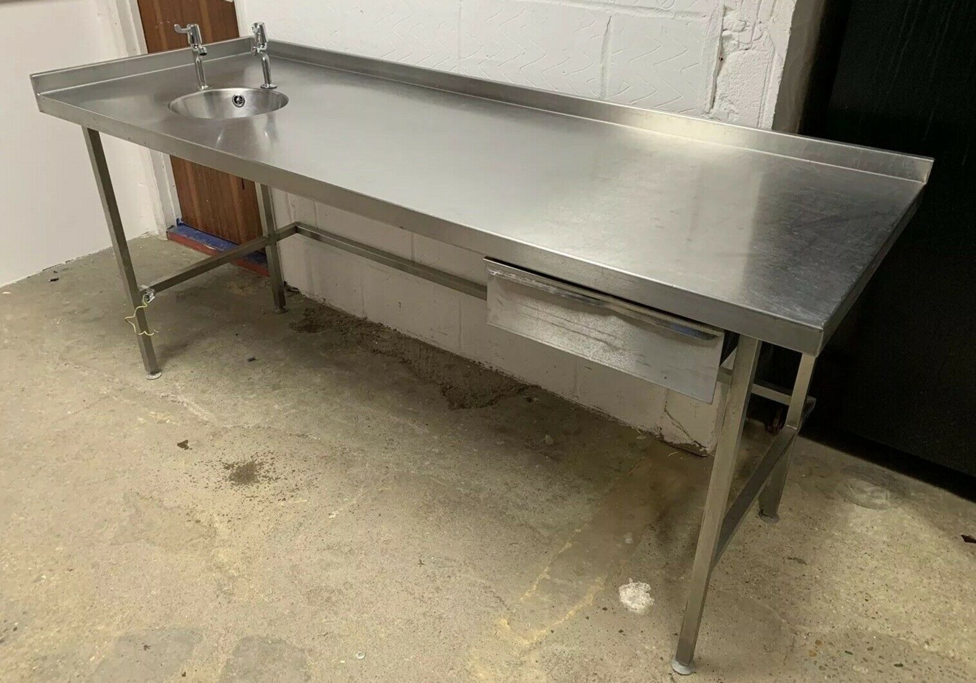 Lot 85 - Stainless Steel Prep Table With Handwash Sink Corner Upstand And Drawer