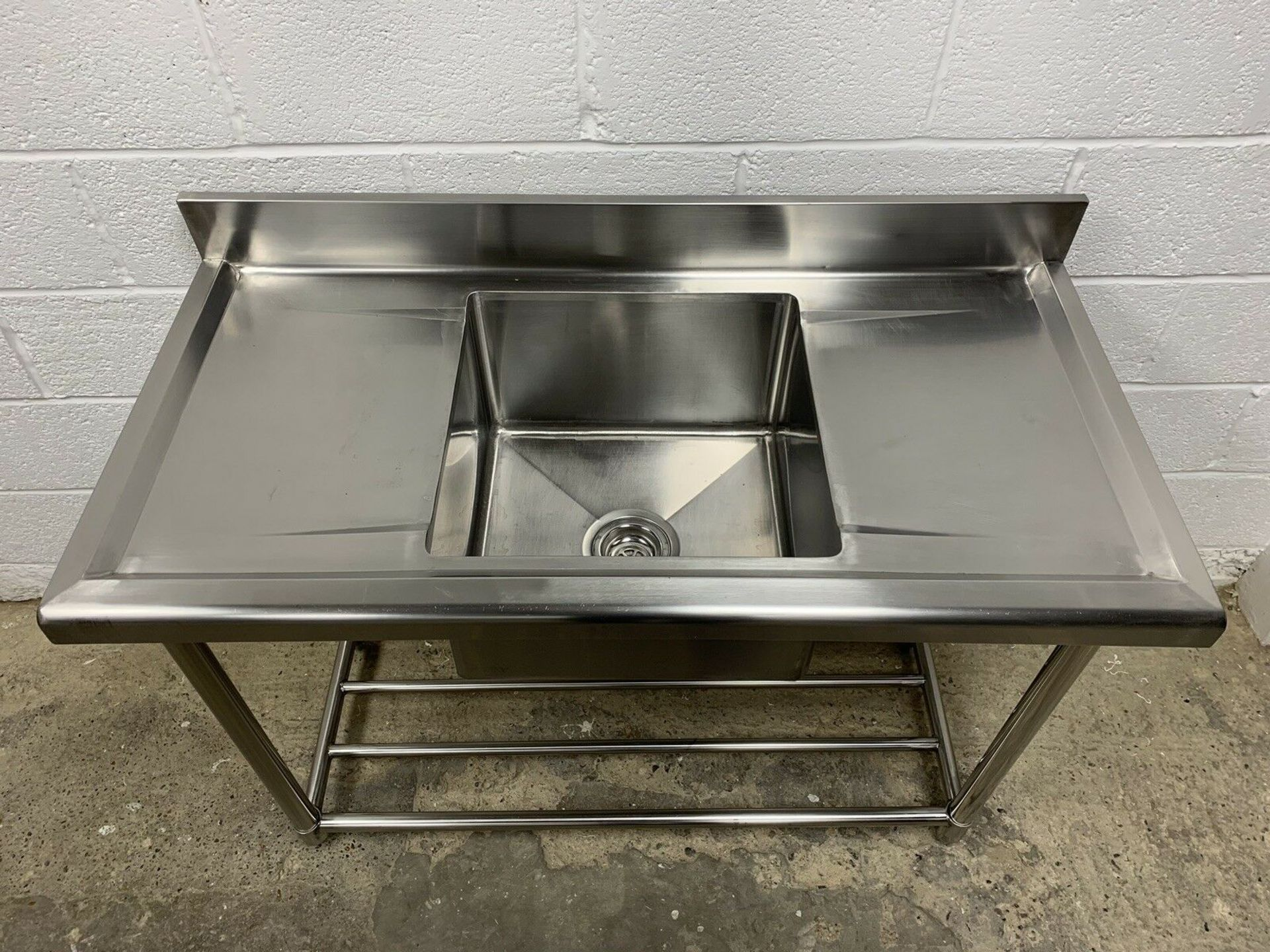 Lot 74 - Stainless Steel Commercial Single Bowl Sink With Double Drainer