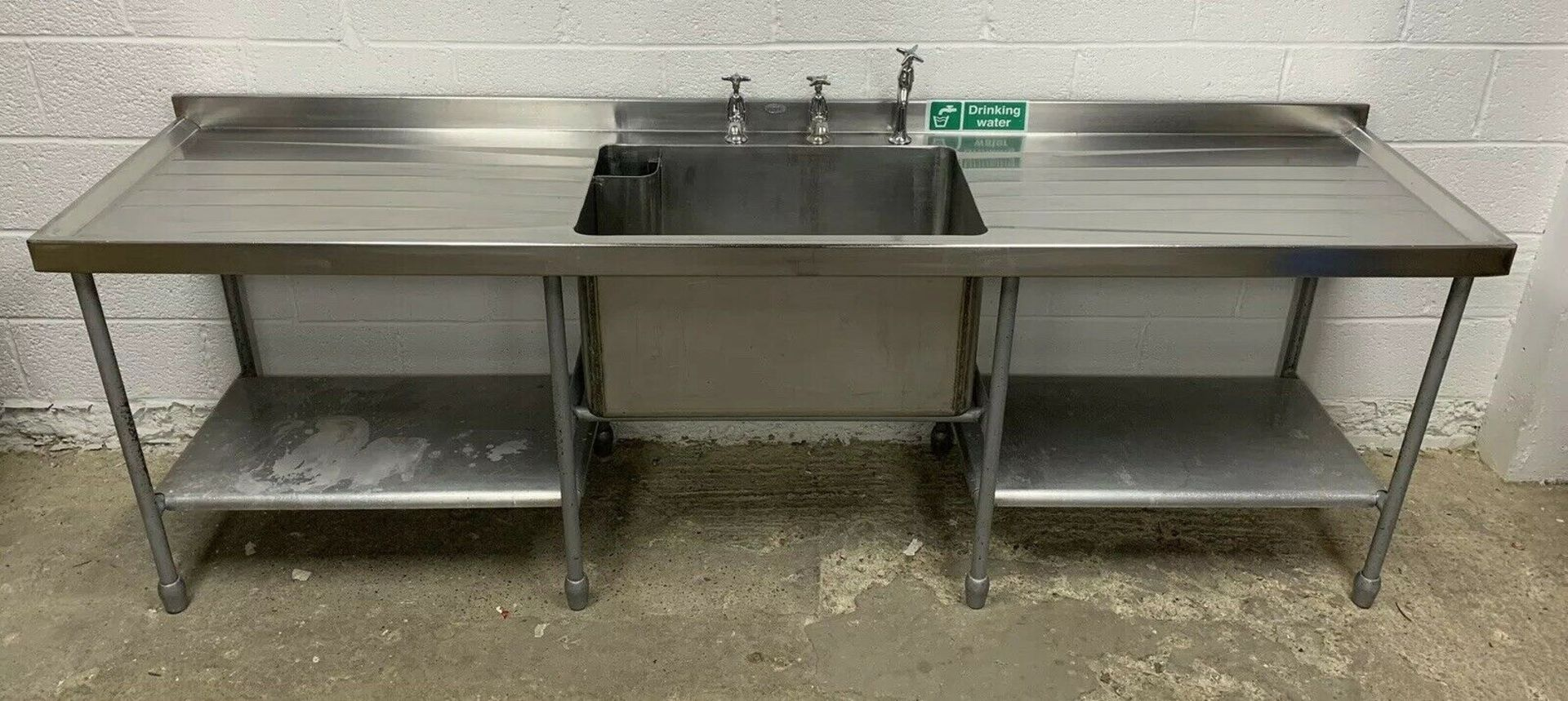 Lot 53 - Stainless Steel Deep Single Bowl Sink with Double Drainer and Upstand