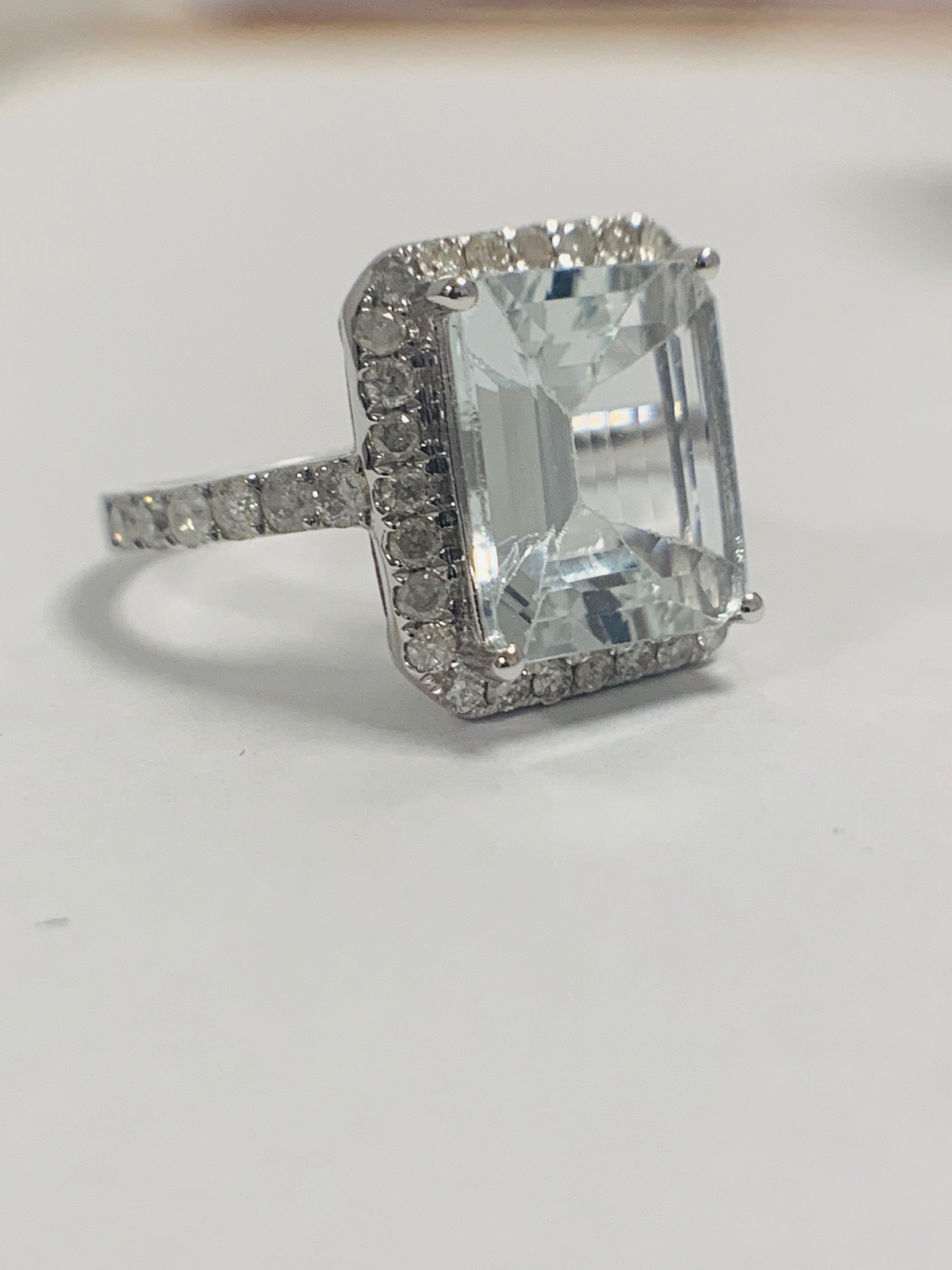 Lot 61 - 14ct White Gold Aquamarine and Diamond ring