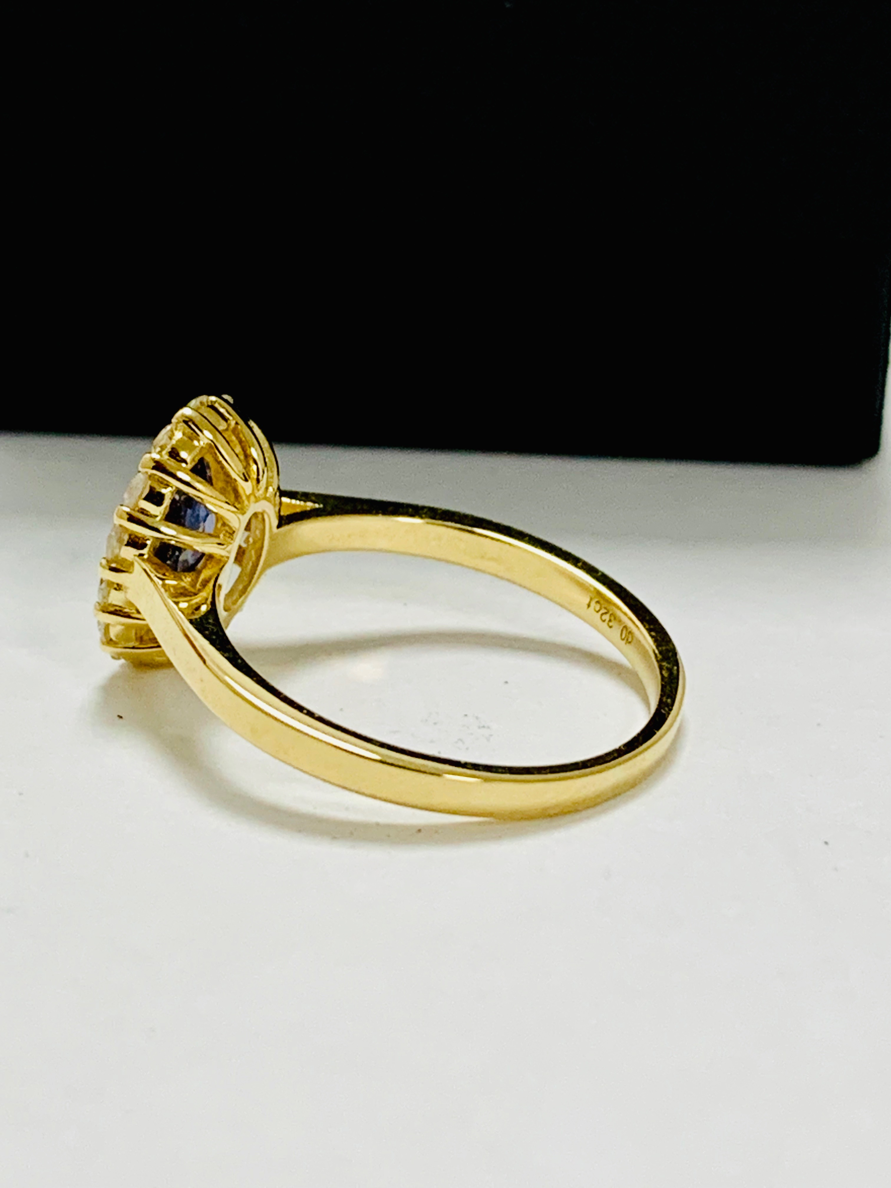 Lot 36 - 14ct yellow gold sapphire and diamond ring.