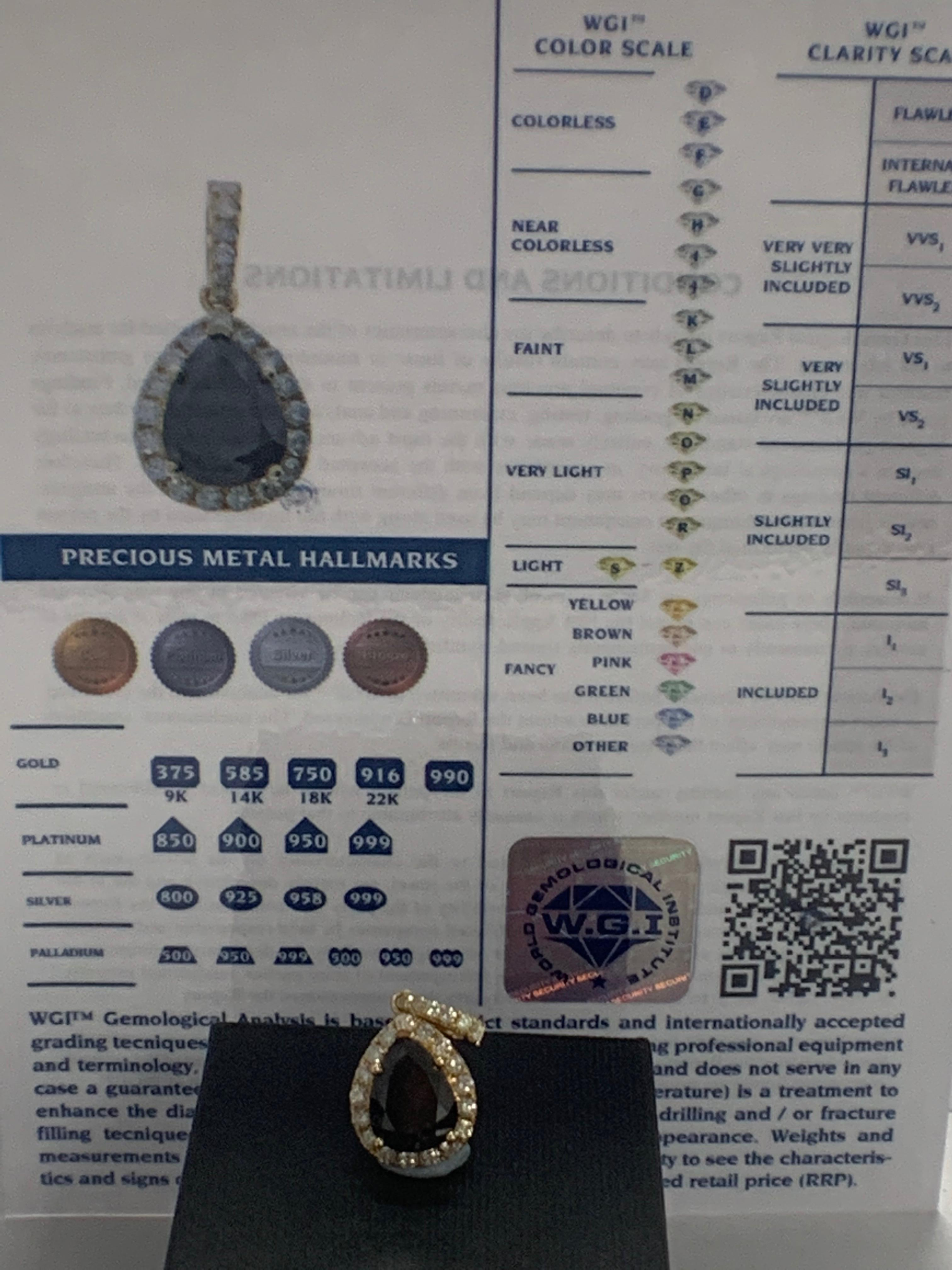 Lot 71 - 14ct Yellow Gold Diamond pendant featuring centre, pear cut, black Diamond (2.86ct)