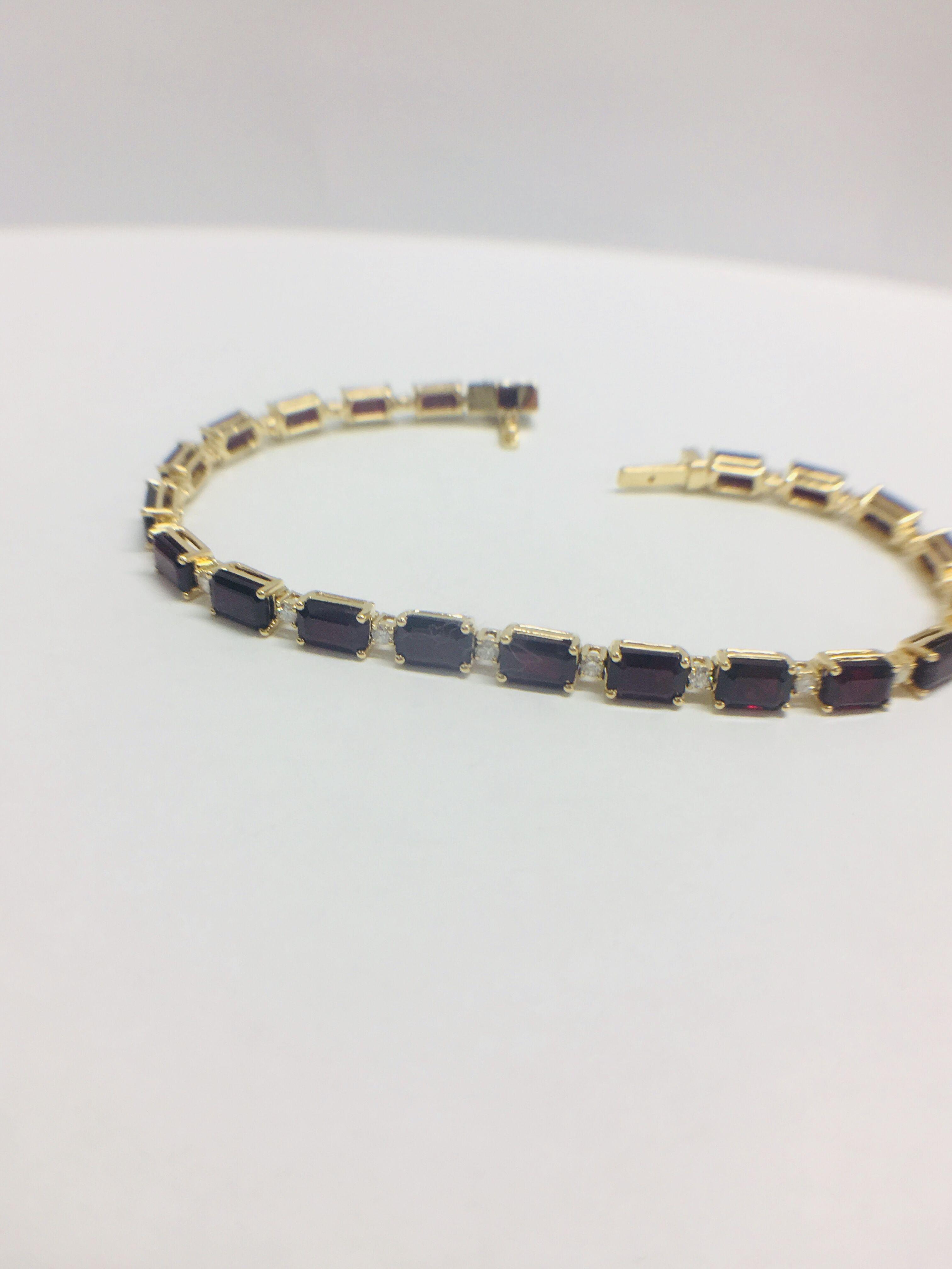 Lot 5 - 18ct yellow gold ruby and diamond tennis bracelet