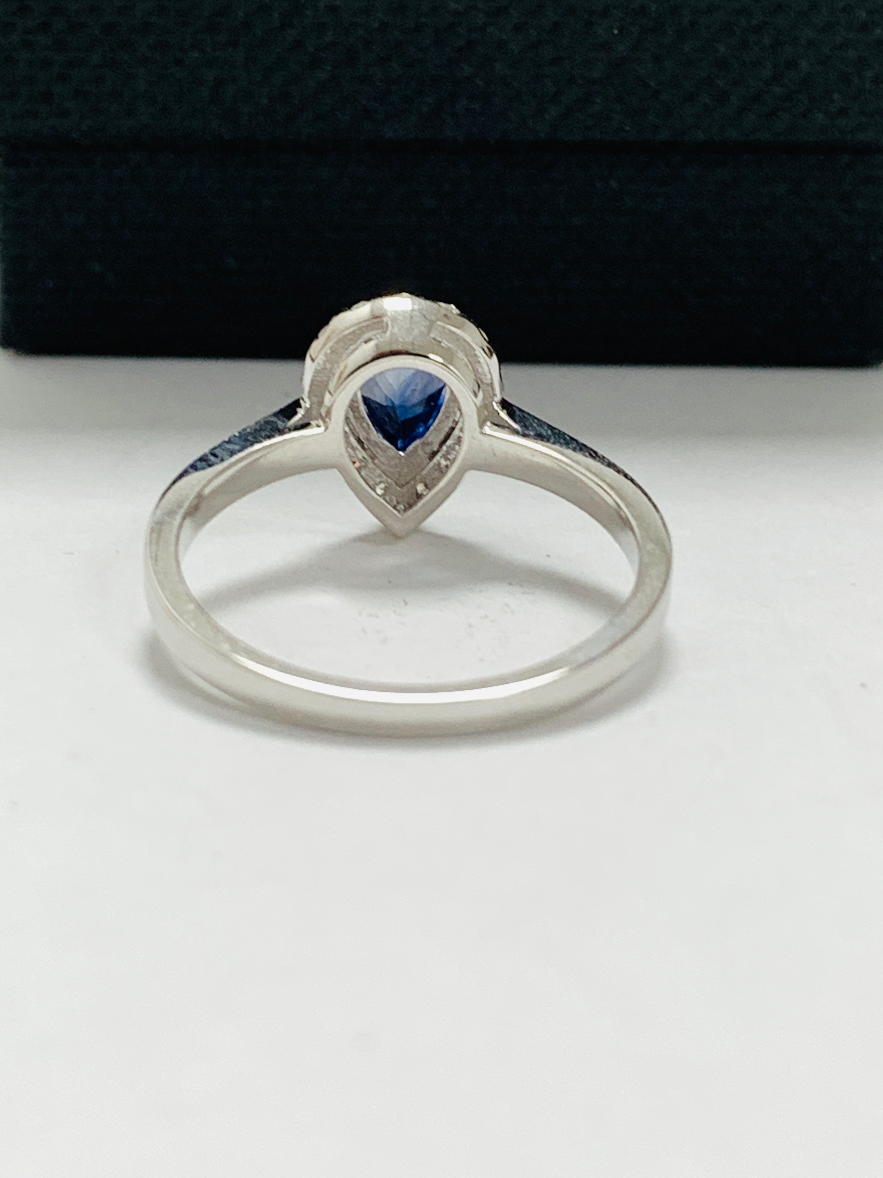 Lot 31 - 14ct white gold sapphire and diamond ring