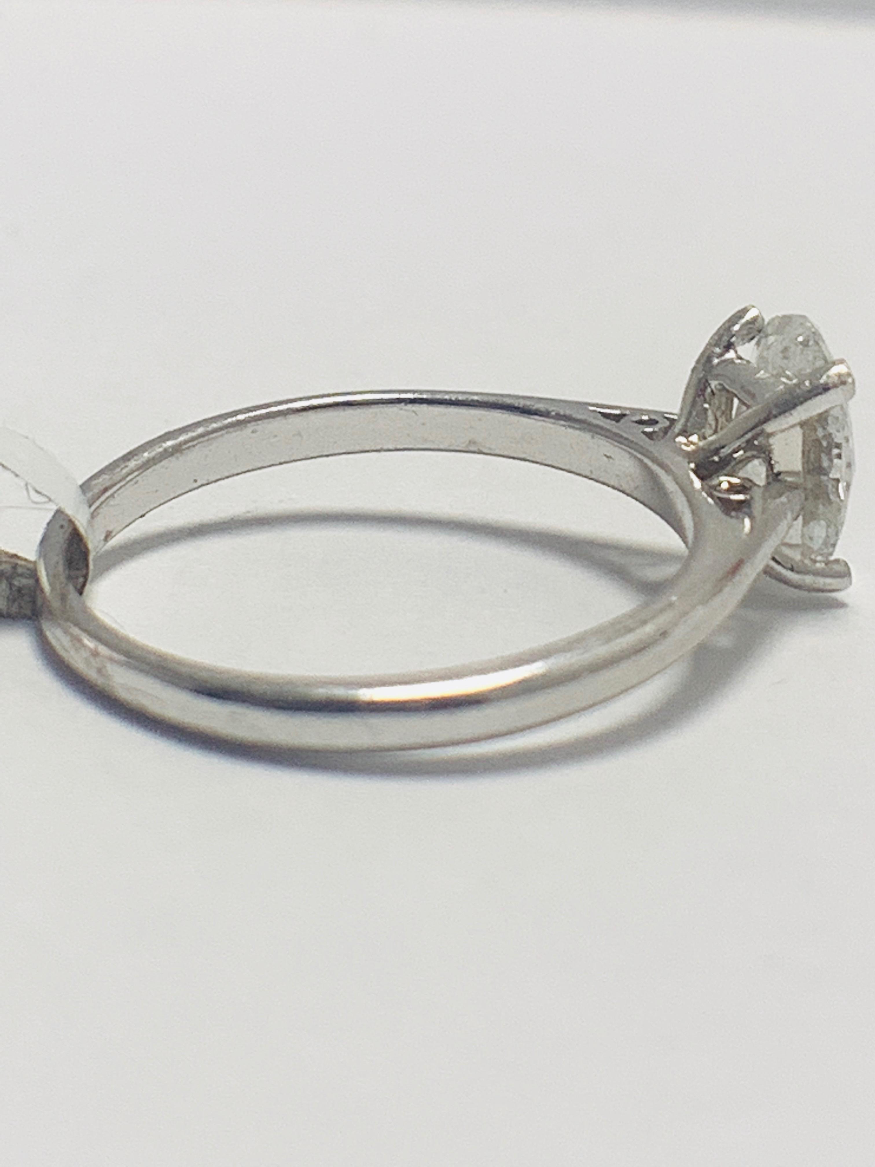 Lot 24 - 1ct Oval diamond solitaire platinum ring
