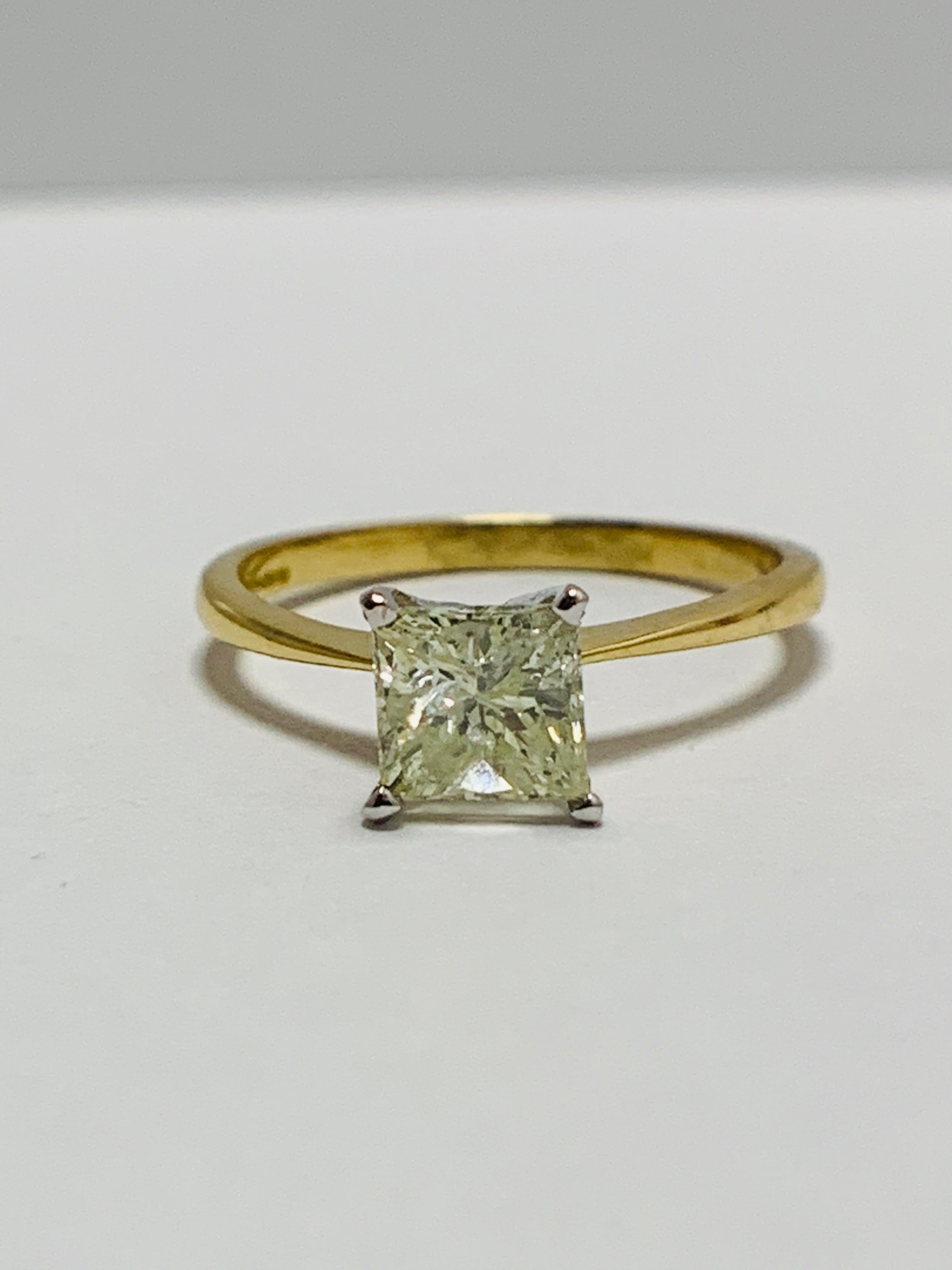 Lot 37 - 18ct Princess Cut natural diamond solitaire ring