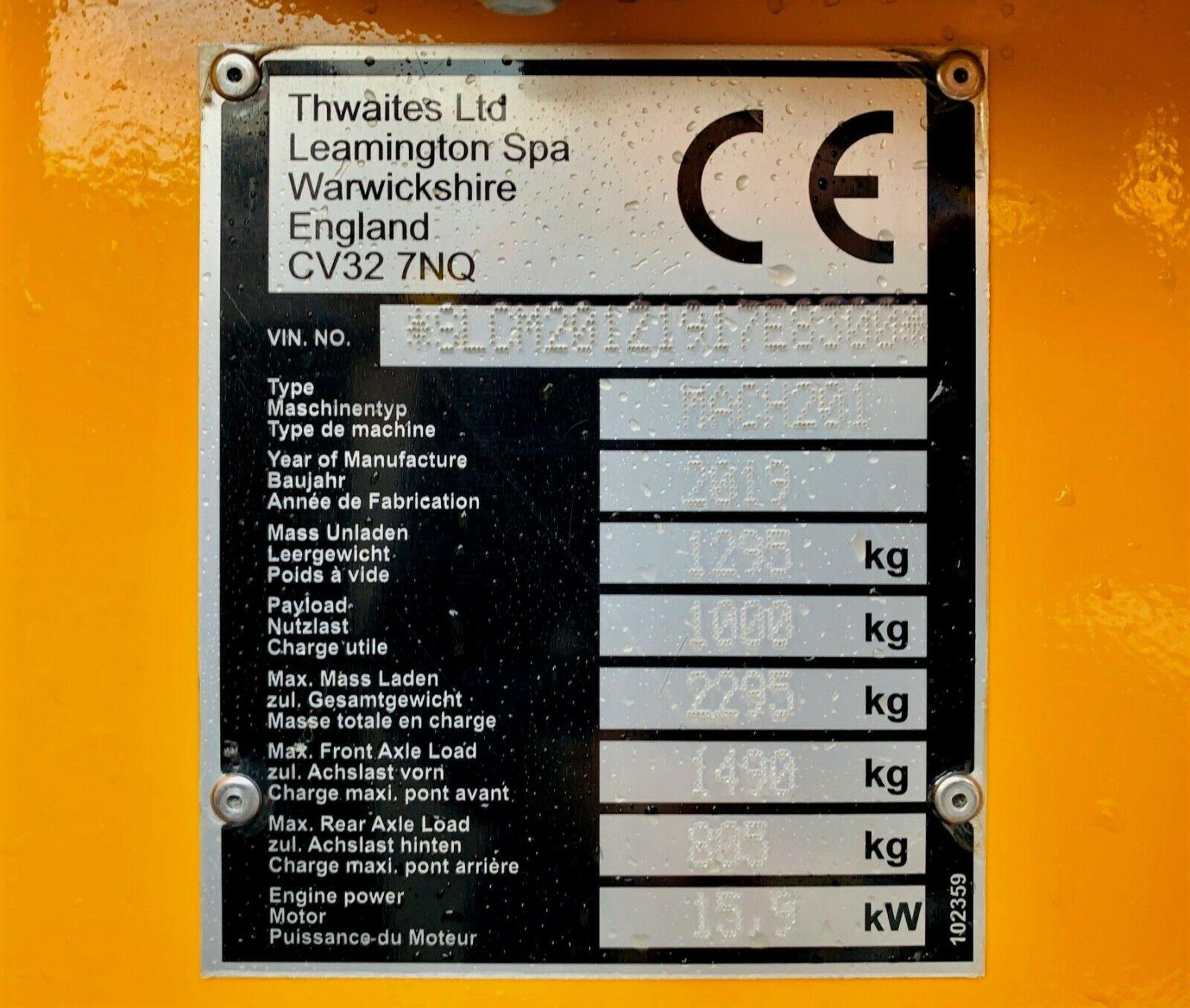 Lot 70 - Thwaites MACH 201 1 Tonne High Tip Dumper