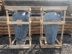 MATCHING PAIR TERRECOTTA HANDFIRED 1.1M HIGH CRATED ORNATE POTS