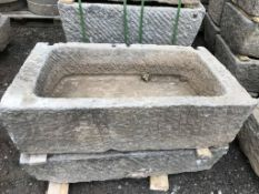PALLET OF 6 X LARGE HEAVY 3-4FT STONE TROUGHS