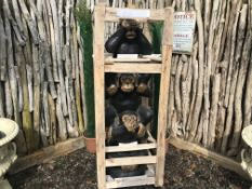 5FT TALL CRATED STATUE OF CHEEKY MONKEYS