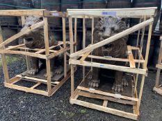 MASSIVE PAIR LIONS IN BRONZE FINISH