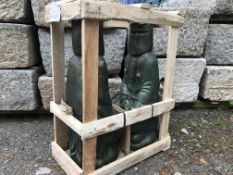CRATED PAIR HEAVY TERRECOTTA NED KELLY STATUES