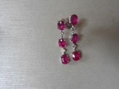 4.80Ct Ruby And Diamond Drop Earrings Set In 18Ct Gold.