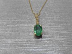 0.80Ct Emerald And Diamond Drop Style Pendant.