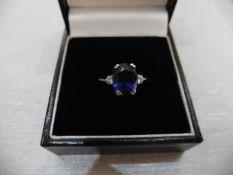 2.40Ct Sapphire And Diamond Ring.
