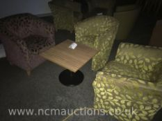 Square table and 3x chairs