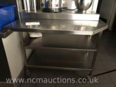 Stainless steel counter on castor wheels