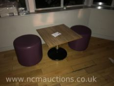 small table and 2x stools
