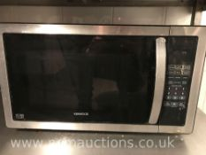 Kenwood microwave and low stainless steel counter on castor wheels