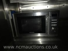 Montpellier microwave and stainless steel counter on caster wheels
