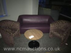 Round table, 2x chairs and sofa