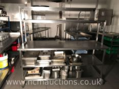 Stainless steel catering bench with top shelf food warmer and under storage
