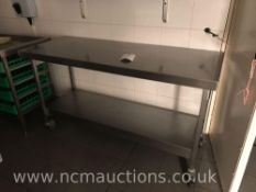Stainless steel counter and 2x shelf