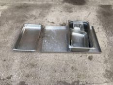 Various stainless steel trays