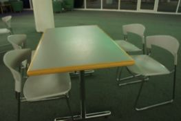 2x bistro table with 3x chairs, 12000mm x 750mm