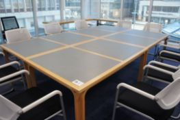 4 piece timber frame meeting table with 10 x Steelcase 57400 Sarrebourg chairs 280mm x 180mm