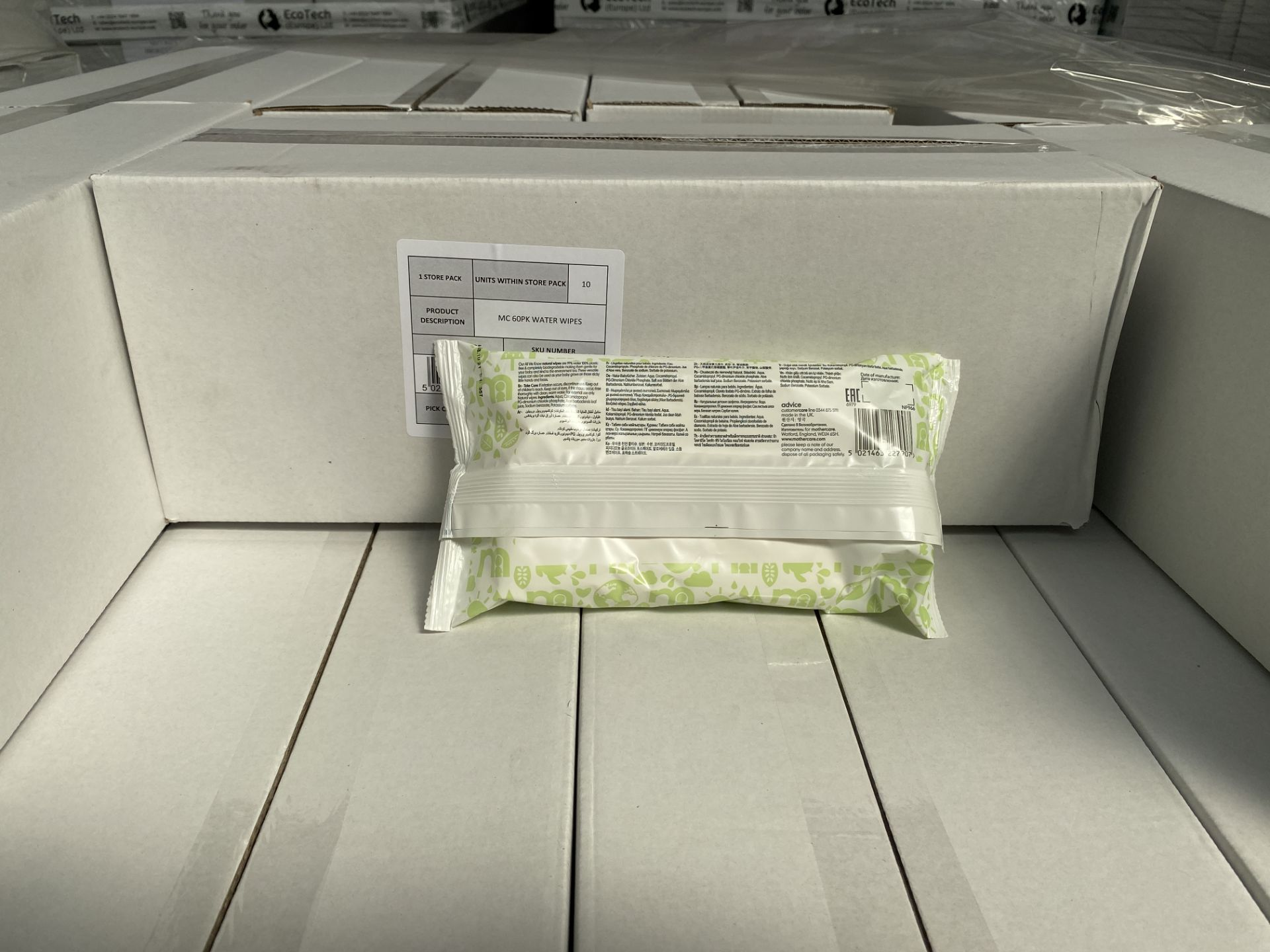 Lot 42 - MOTHERCARE natural baby wipes. 100 x 60 pack. RRP £299 PLUS