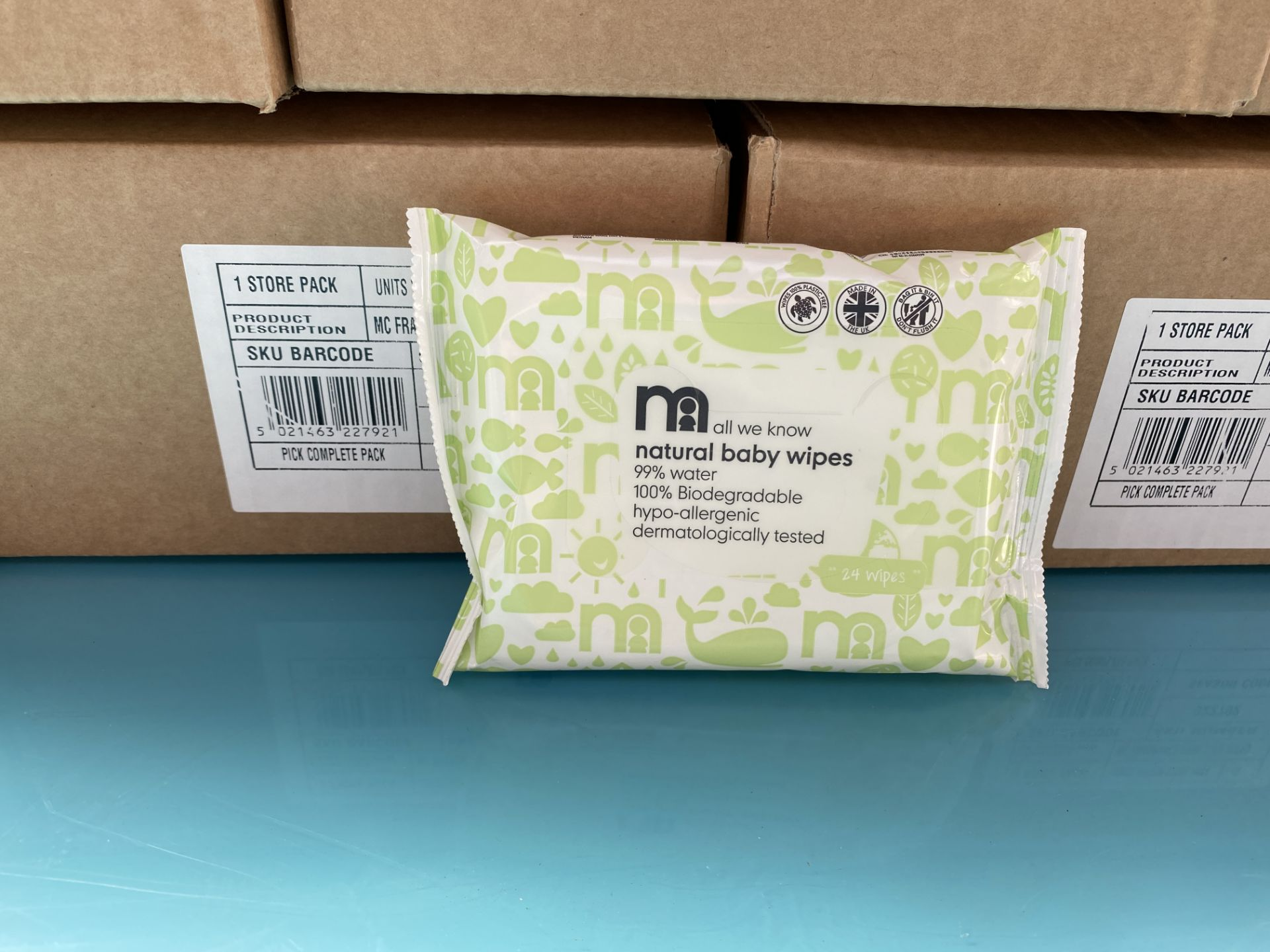 Lot 15 - MOTHERCARE baby wipes, natural water wipes. 100 x 24 pack. RRP £199 PLUS