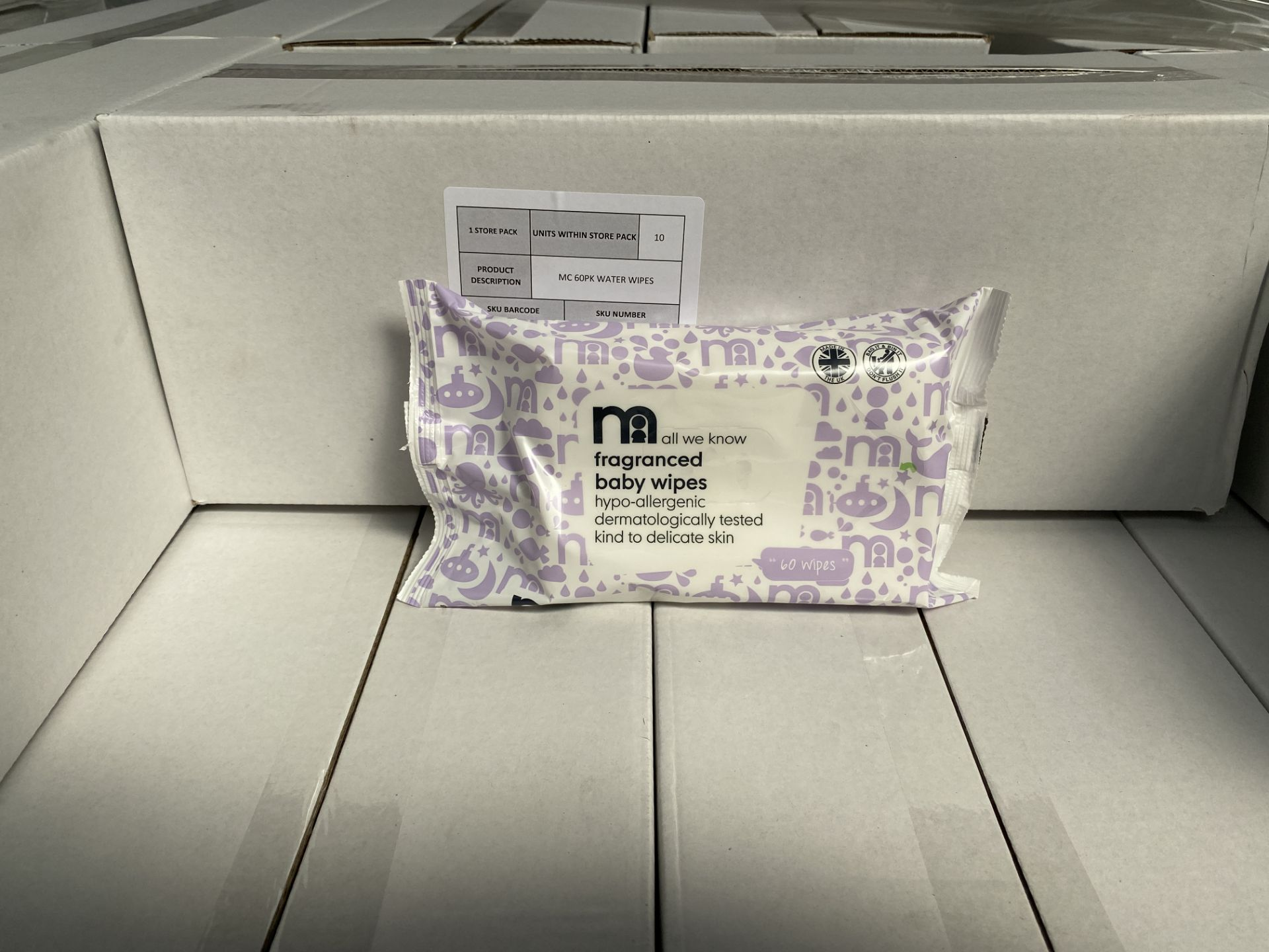 Lot 51 - MOTHERCARE fragranced baby wipes. 100 x 60 pack. RRP £299 PLUS