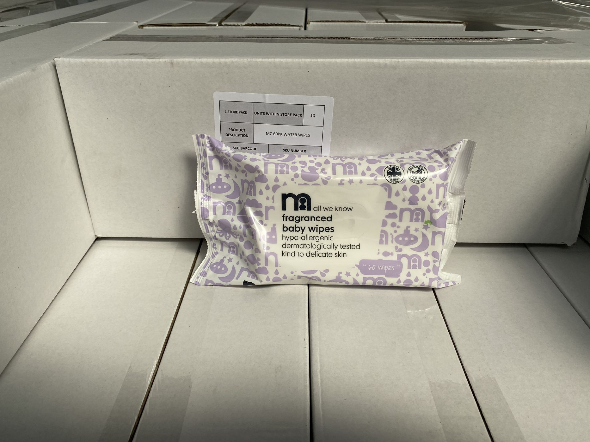 Lot 52 - MOTHERCARE fragranced baby wipes. 100 x 60 pack. RRP £299 PLUS